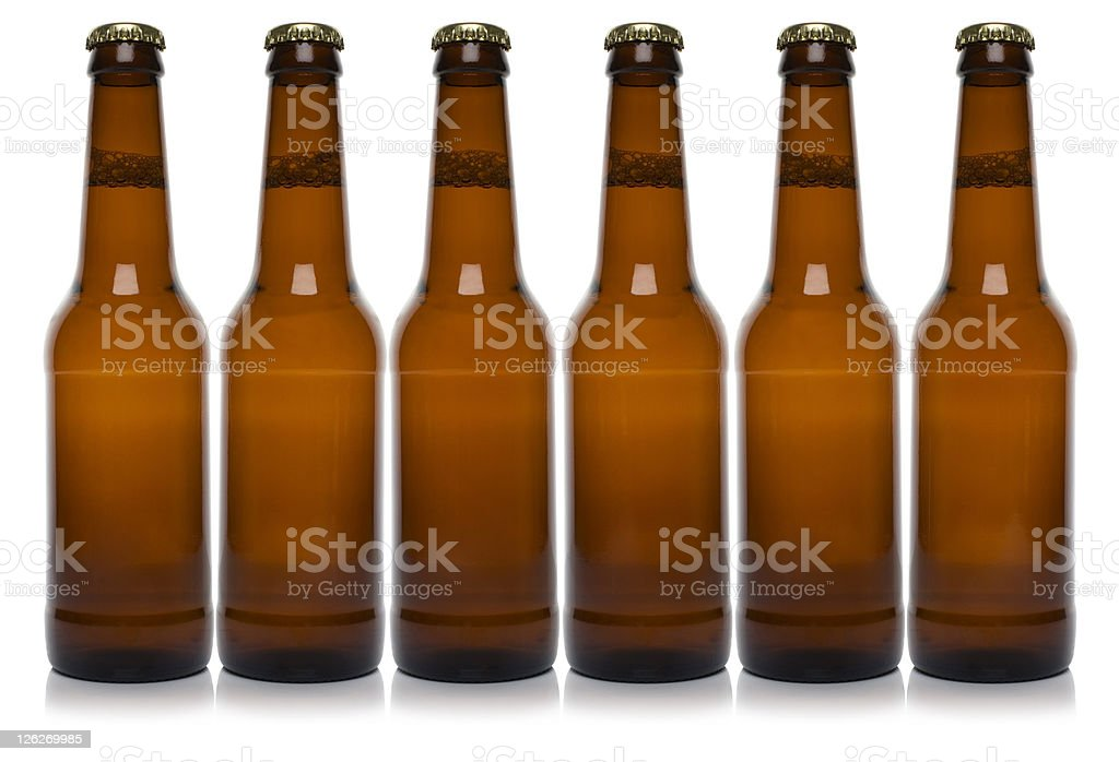 Row of six brown beer bottle on white background royalty-free stock photo