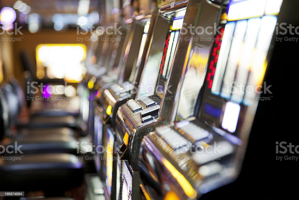 Row of  slot machines in a casino royalty-free stock photo
