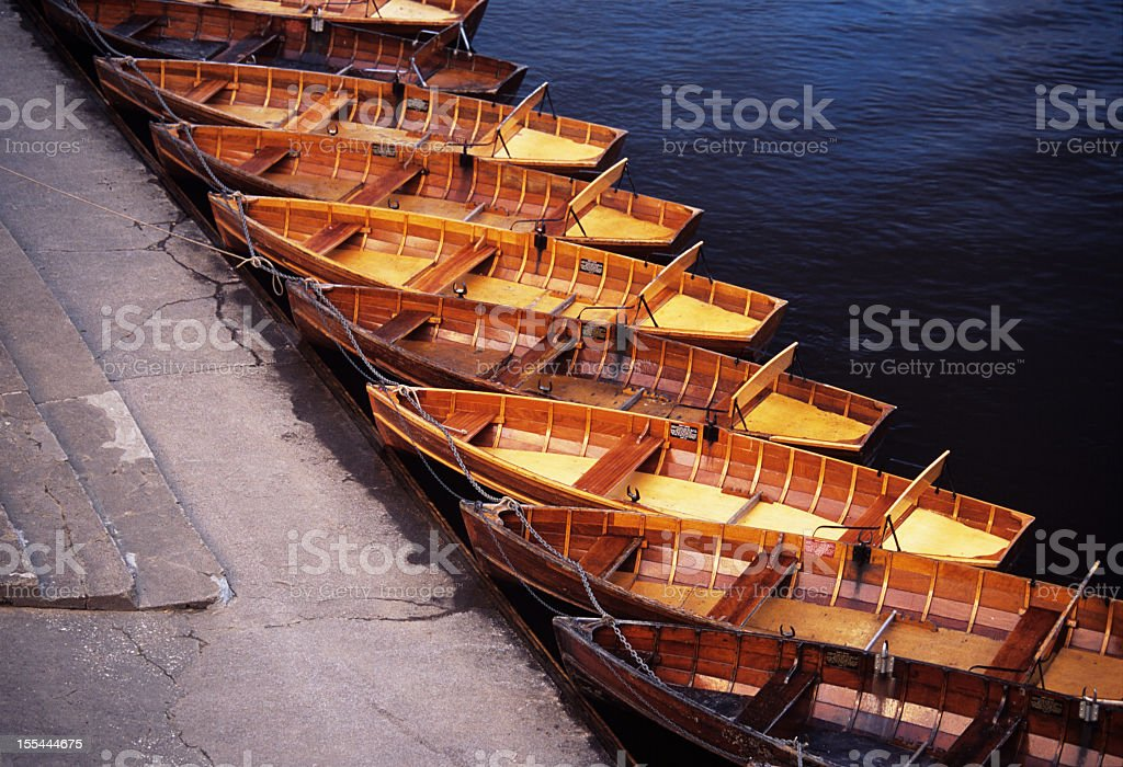 Row of small rowing boats - Barche a remi stock photo