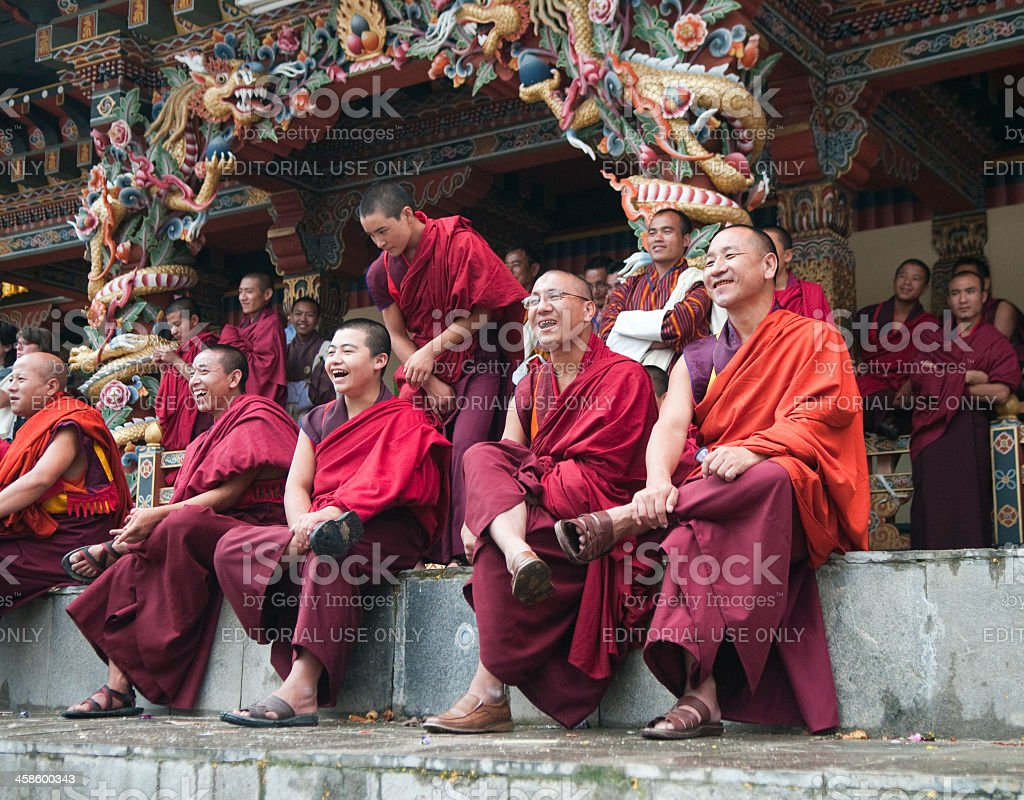 Row of Smiling Monks in Bhutan royalty-free stock photo