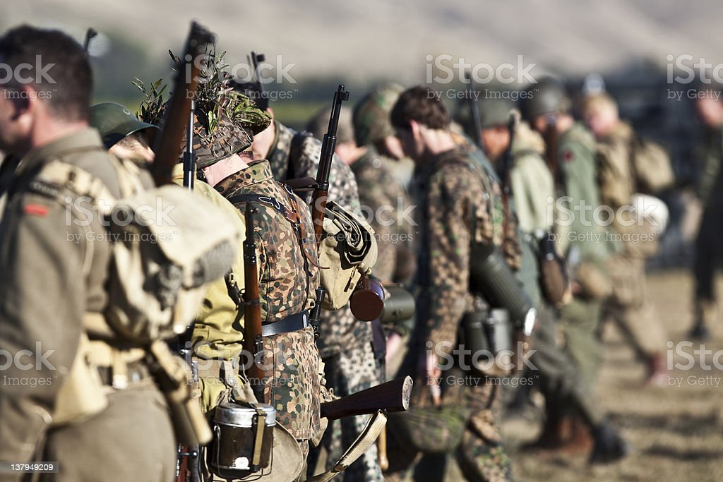 Row Of Soldier stock photo