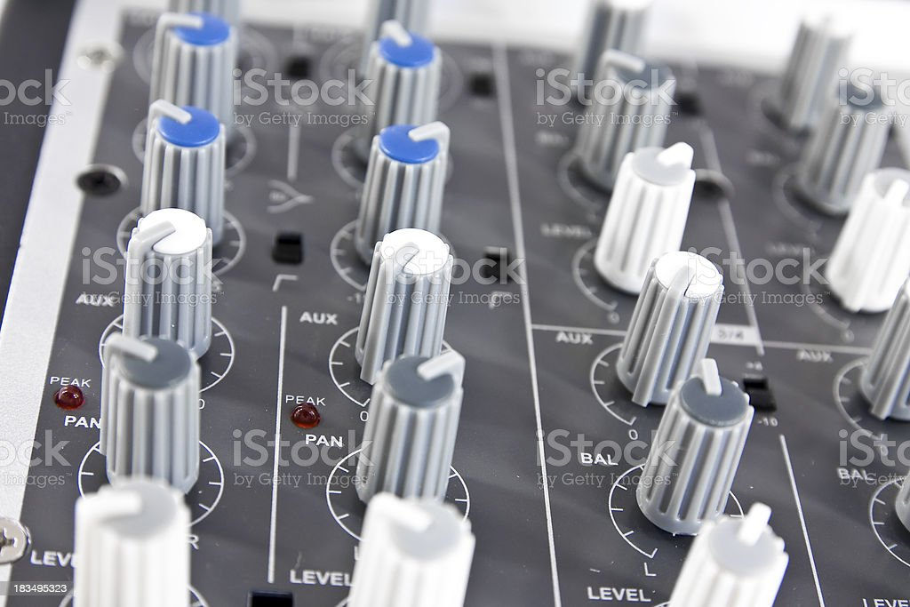 Row of sound mixer button stock photo