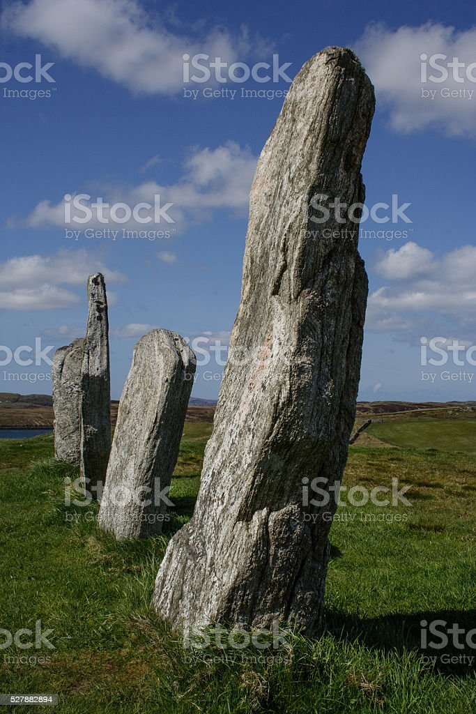 Row of Standing Stones, Sunny Day, Callanish Isle of Lewis stock photo