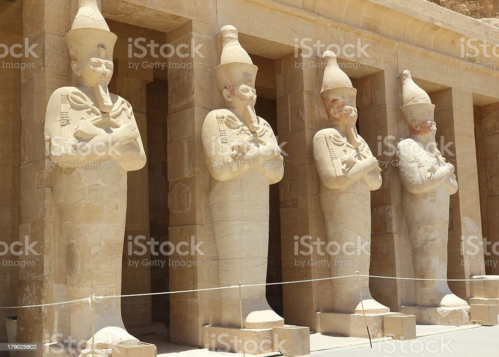 Row of statues: Queen Hatshepsut. royalty-free stock photo
