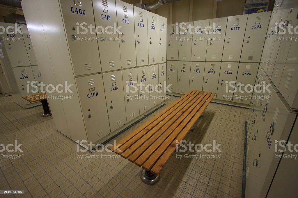 Row of steel lockers along the chair, Locker room stock photo
