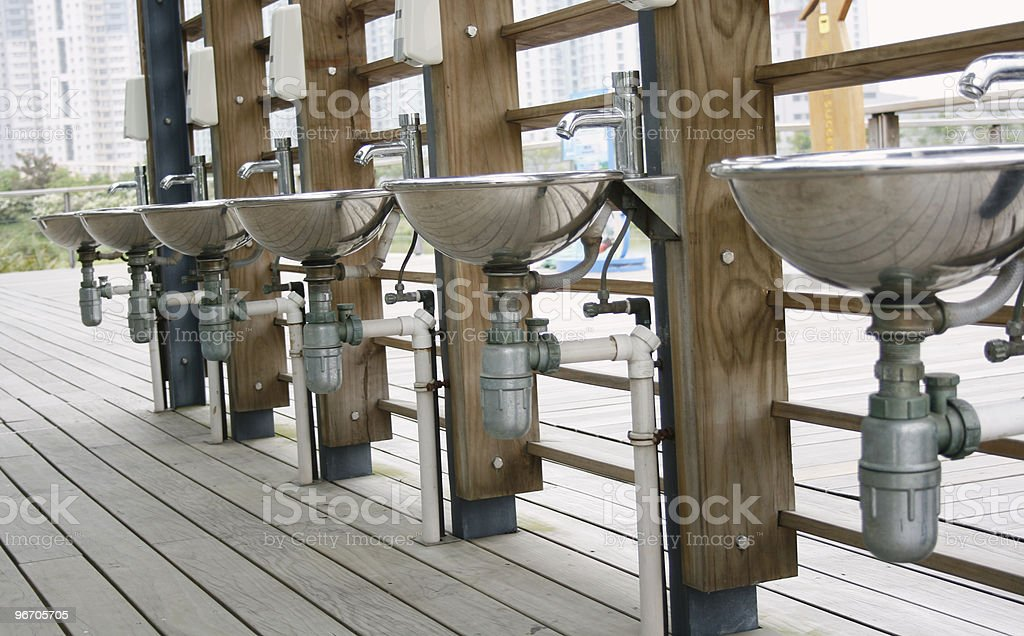 row of steel sink royalty-free stock photo