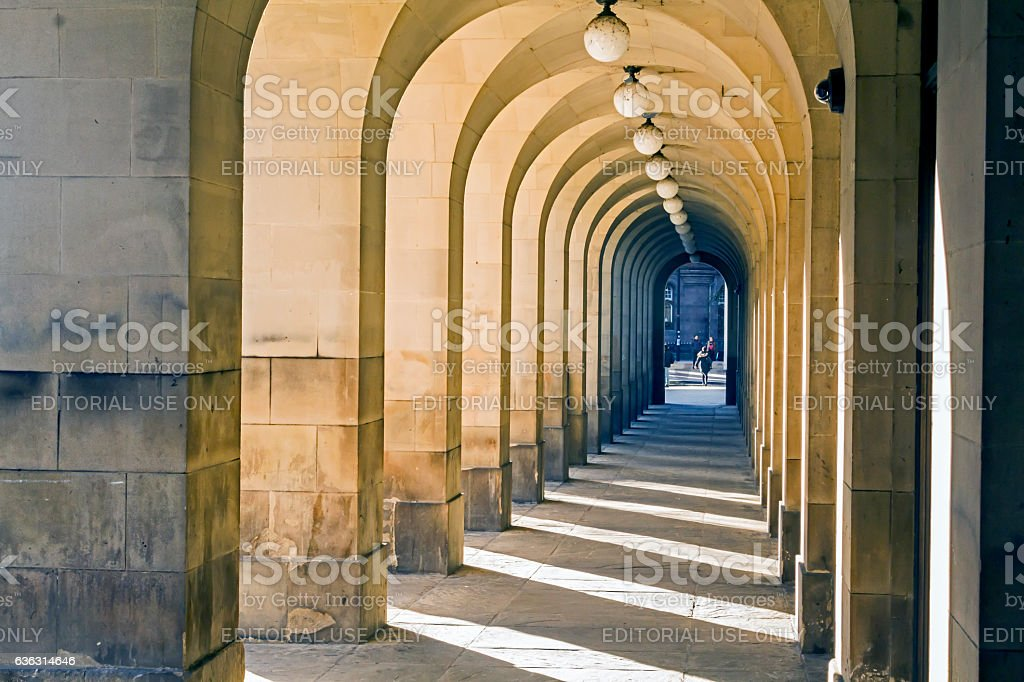 Row Of Stone Arches In Manchester. stock photo