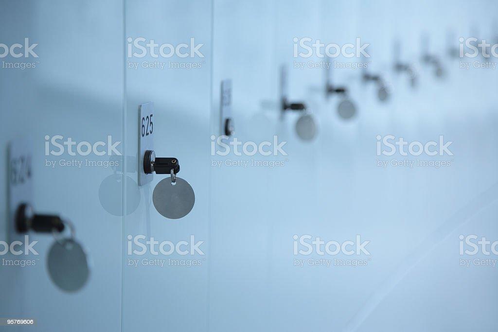 Row Of Storage Lockers With Locks And Keys royalty-free stock photo