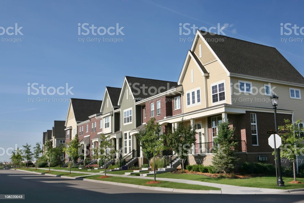 Row of Suburban Townhouses on Summer Day royalty-free stock photo