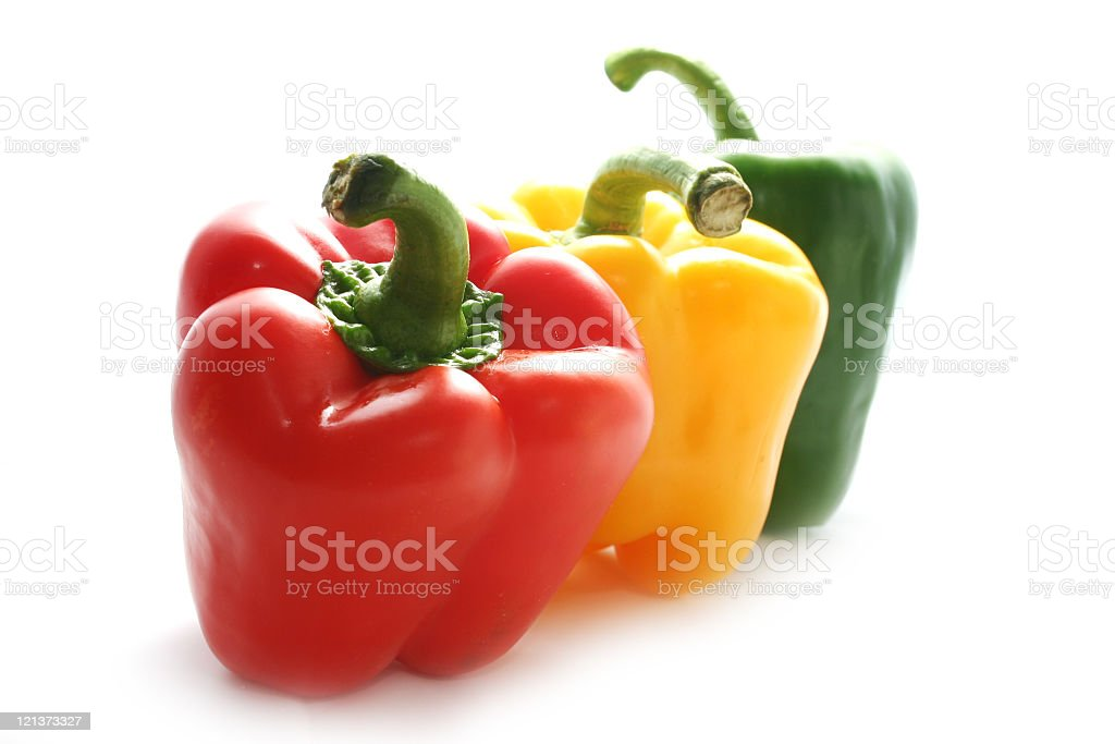 Row of tasty peppers stock photo