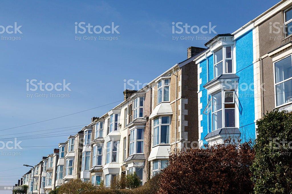 Row of Terrace Houses in Swansea stock photo