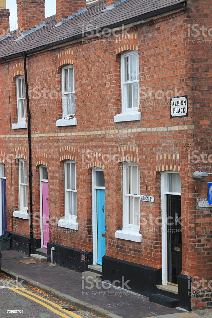 Row of terraced houses stock photo