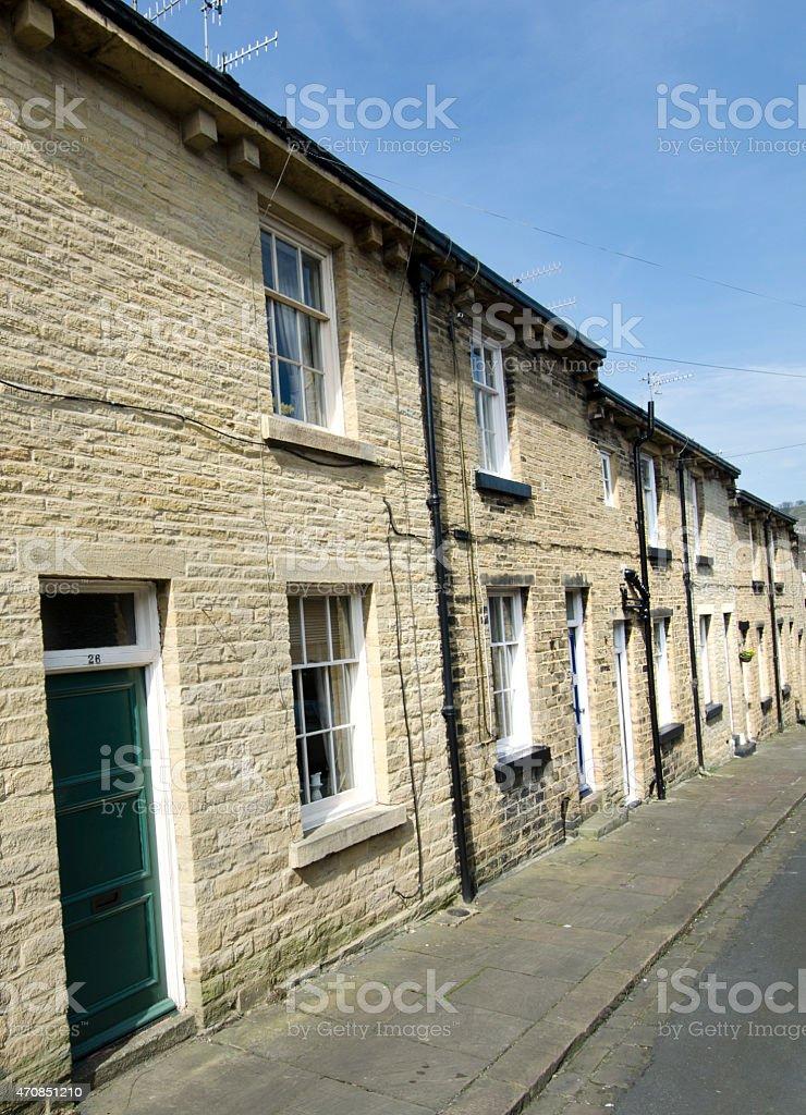 Row of Terraced Houses - Yorkshire Stone Street stock photo