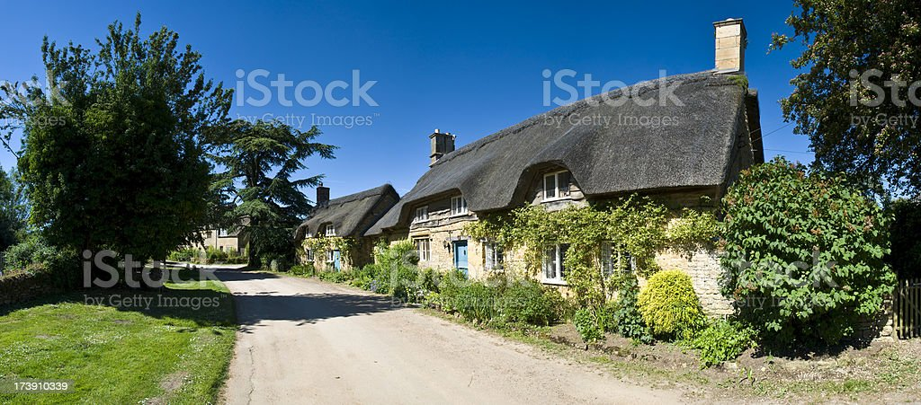 Row of Thatched Cottages stock photo