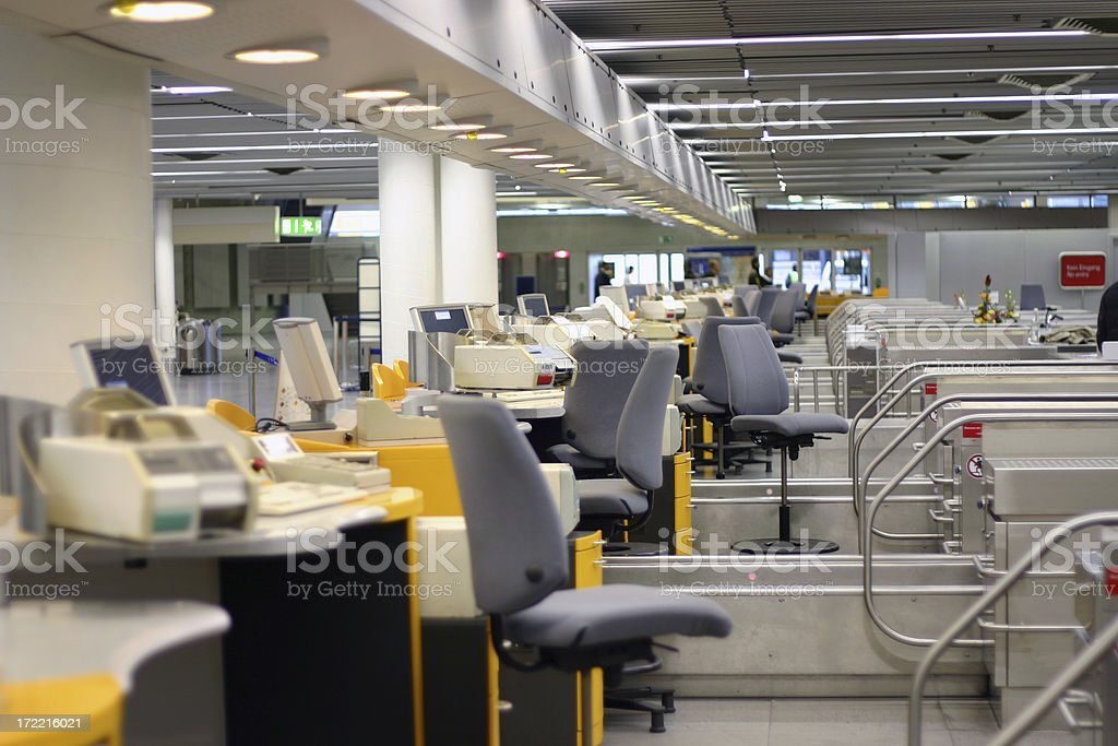 Row of ticket selling counters at the airport stock photo