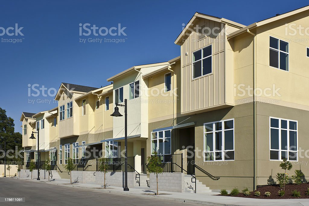 Row of Townhomes stock photo
