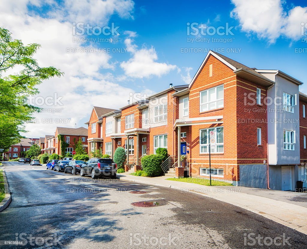 Row of townhouses in Montreal Angus Rosemont area stock photo