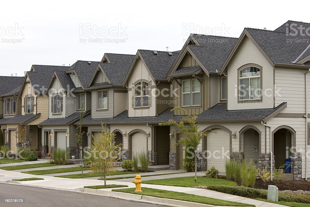 Row of townhouses stock photo