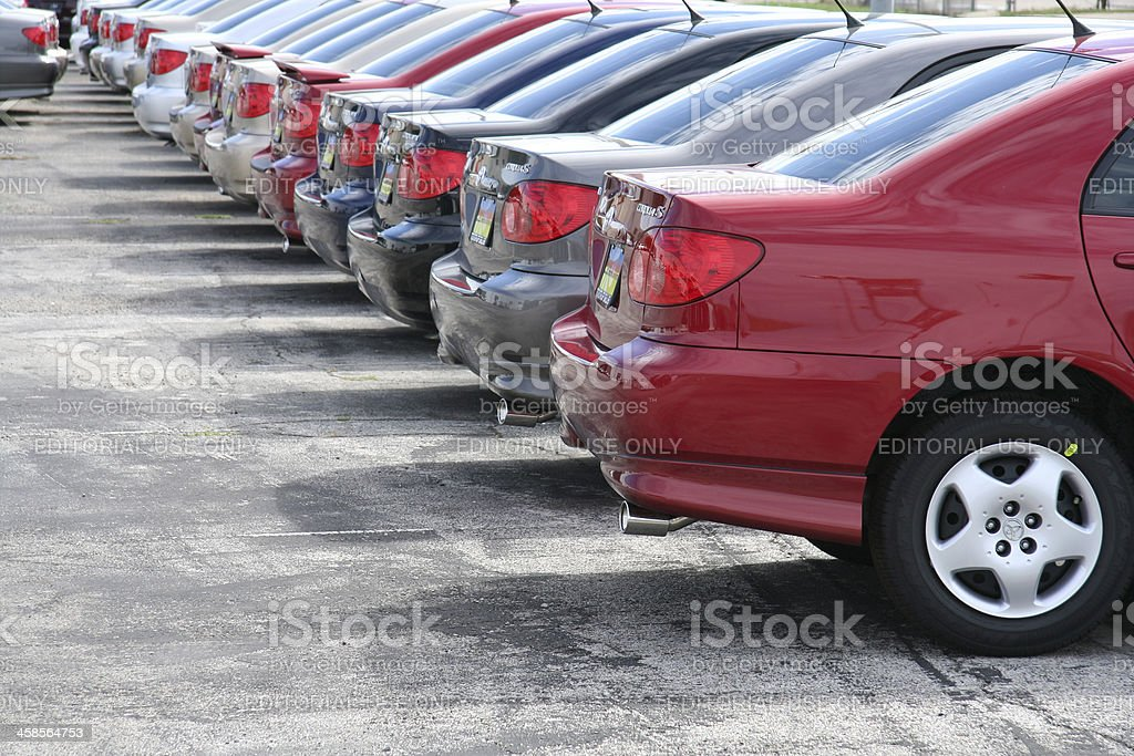 Row of Toyota Corollas on a New Car Dealership Lot stock photo