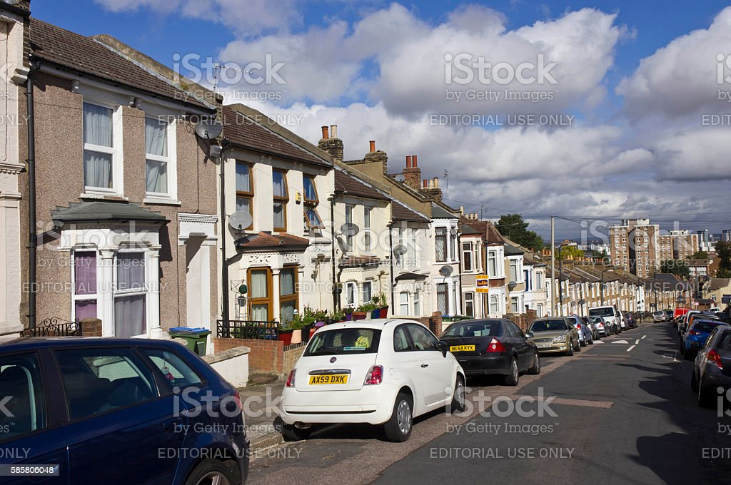 Row of traditional British houses stock photo