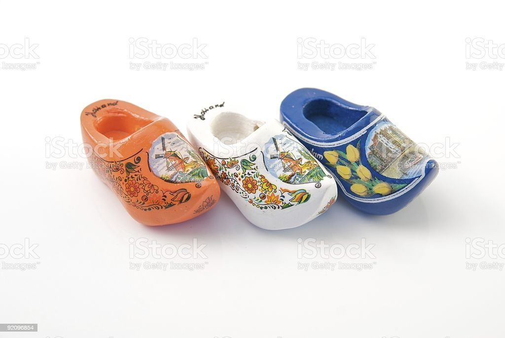 row of traditional dutch clogs stock photo