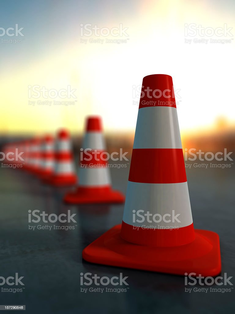 A row of traffic cones outside stock photo