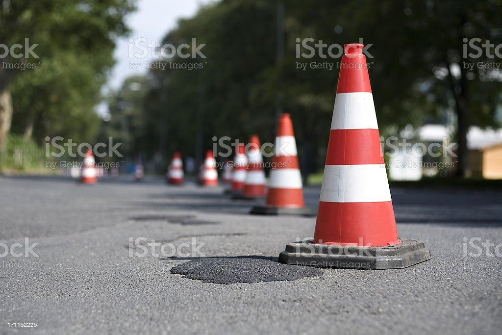 Row of traffic cones - selective focus stock photo