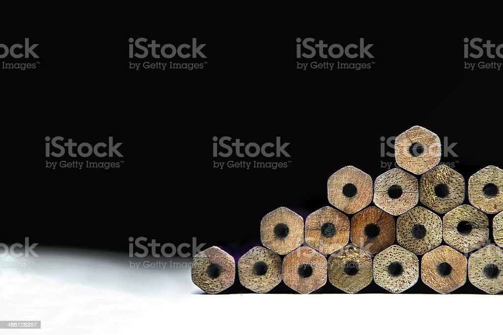 Row of unused pencil stock photo