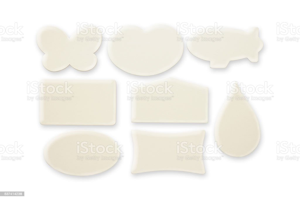 Row of various types blank icon on white background stock photo