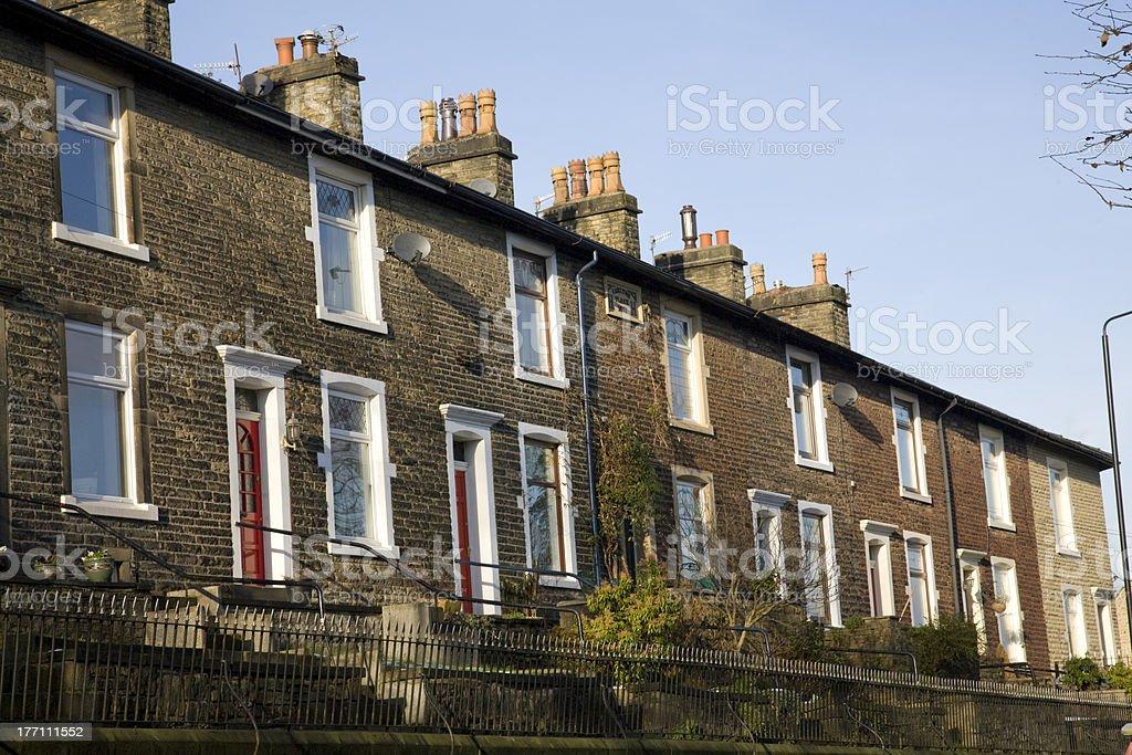 row of victorian terraced houses stock photo