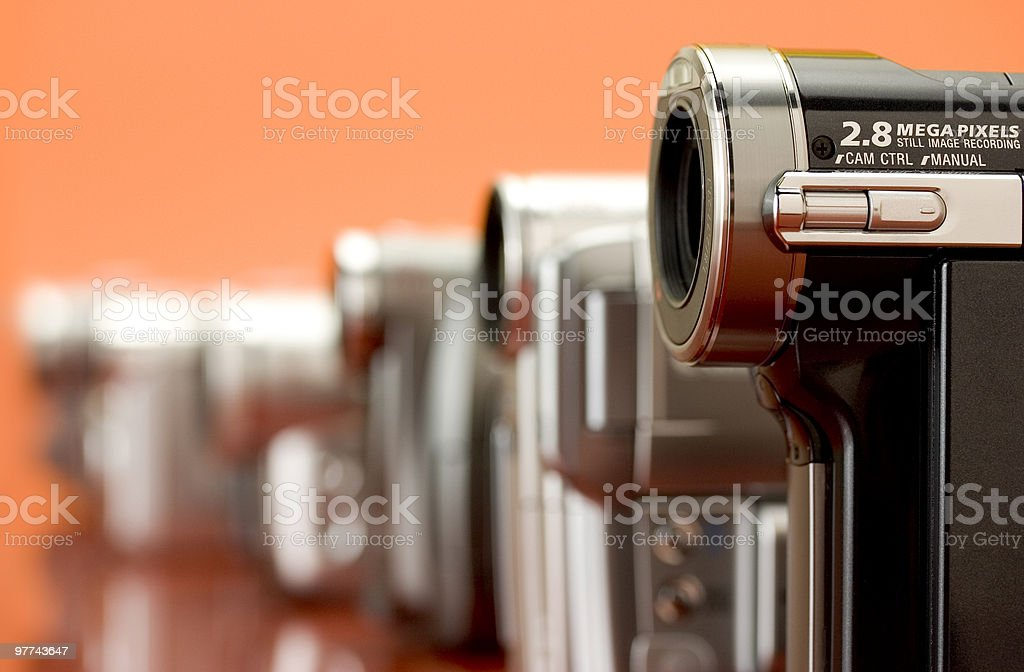 Row of Video cameras (wide) stock photo