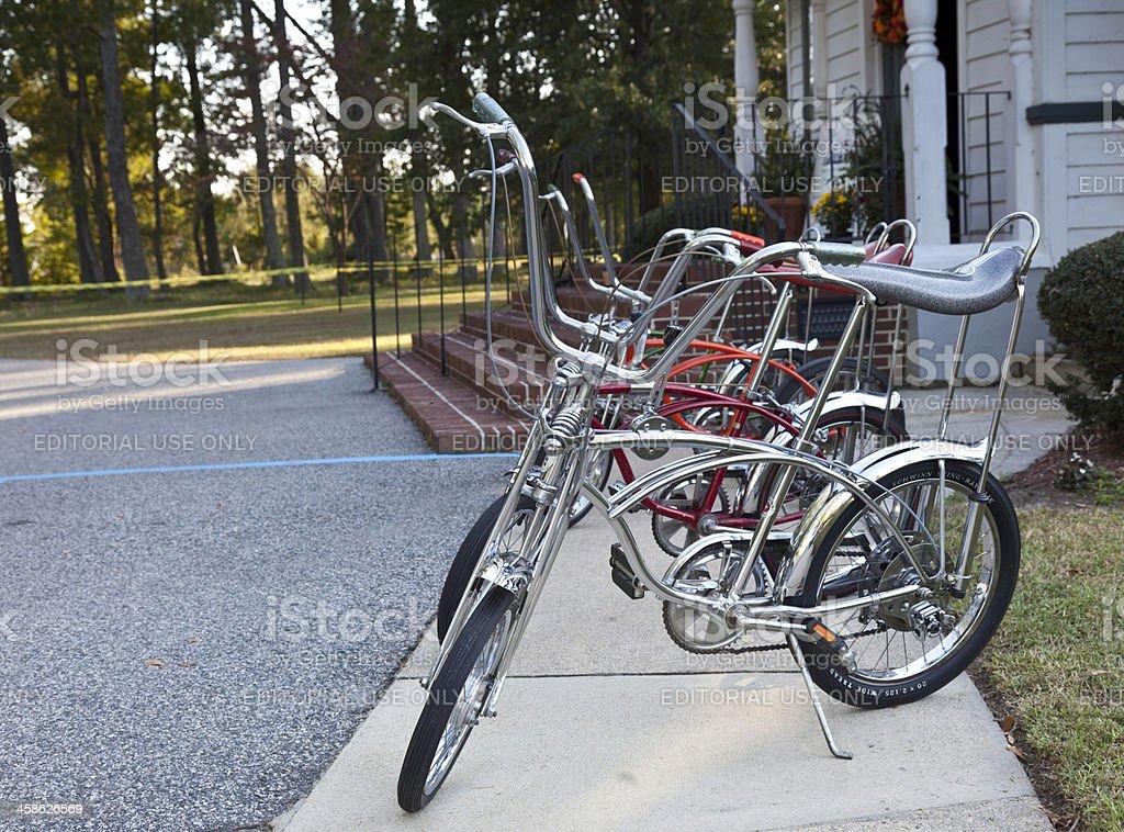 Row of Vintage Schwinn Stingray Bikes royalty-free stock photo