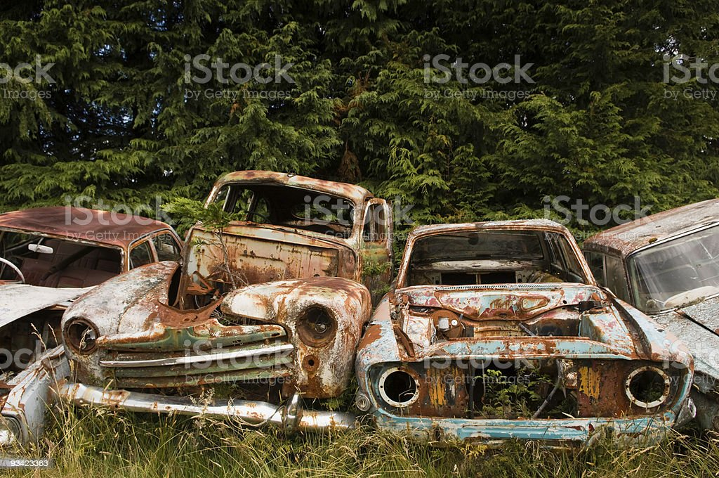 Row of weathered car bodies rusting in scrap metal yard royalty-free stock photo
