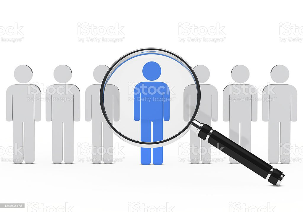 Row of white 3D men with one blue under a magnifying glass royalty-free stock photo