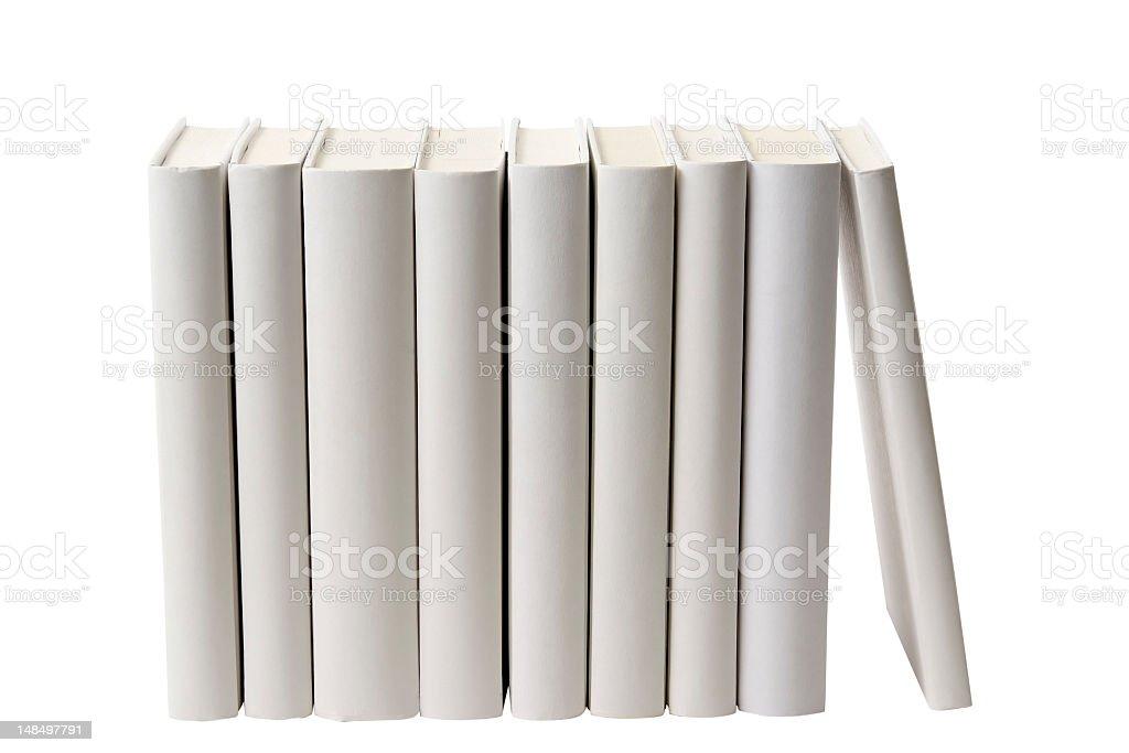 Row of white blank books spine on white background royalty-free stock photo