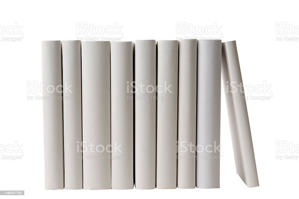 Row of white blank books spine on white background stock photo