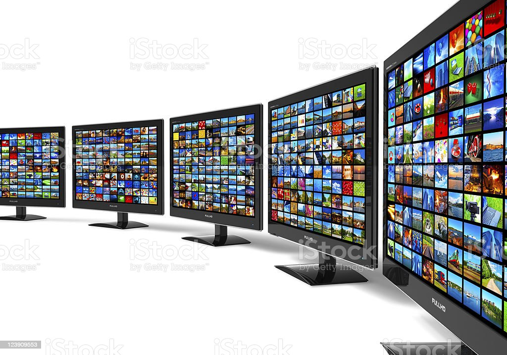 Row of widescreen HD displays wtih multiple images stock photo