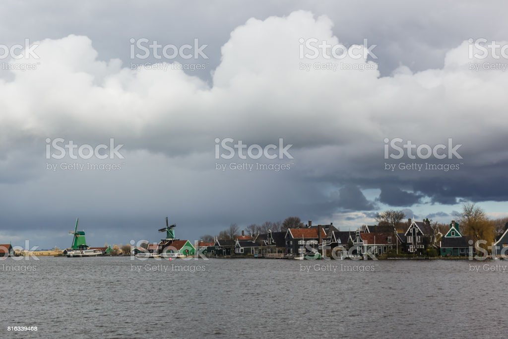 Row of windmills, Zaanse Schans in Holland, the Netherlands stock photo