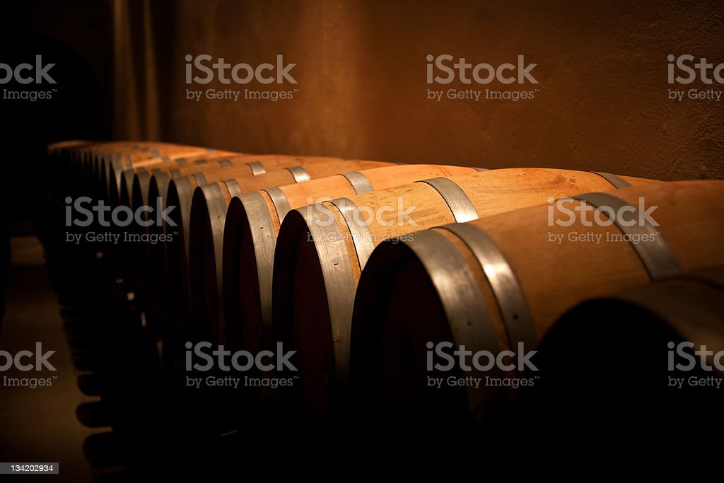 Row of wine barrels in a dimly lit aging cellar royalty-free stock photo