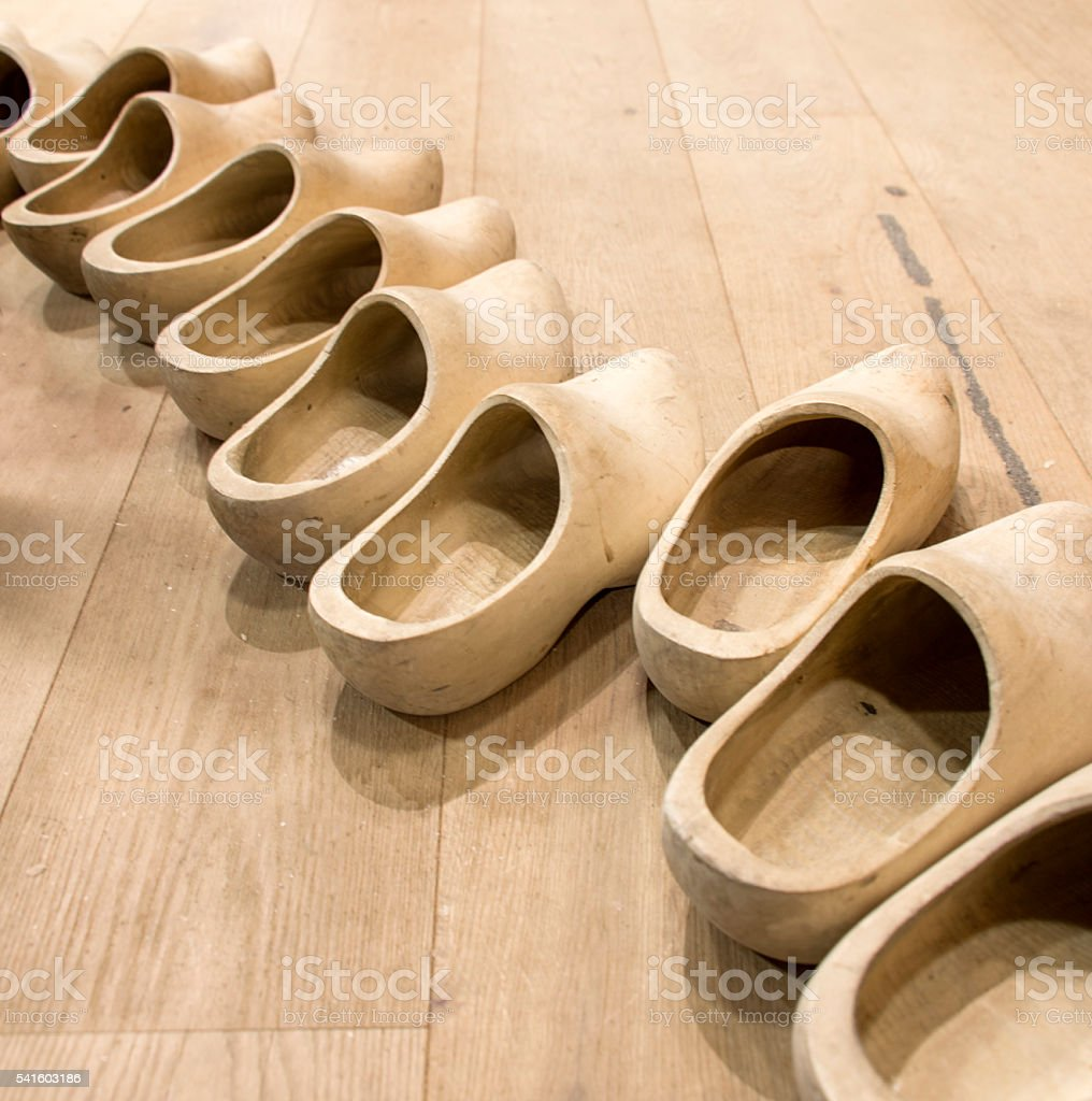 Row of Wooden Shoes stock photo