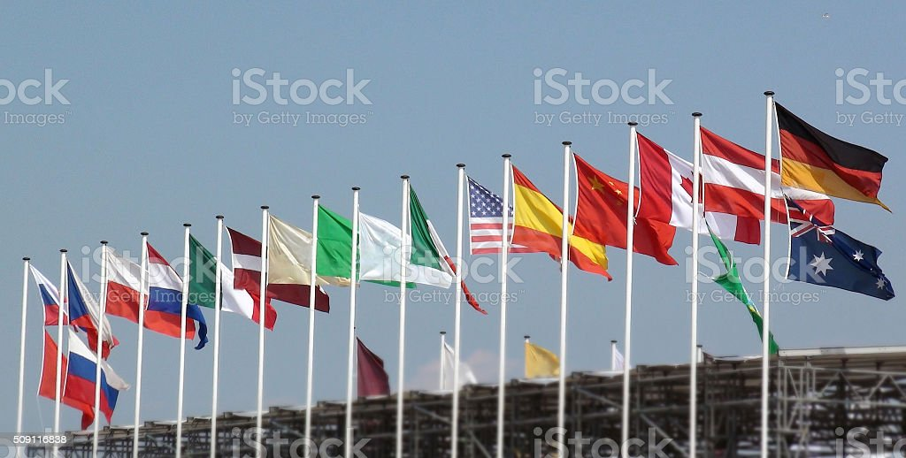 Row Of World Flag Waving In The Netherlands Western Europe stock photo