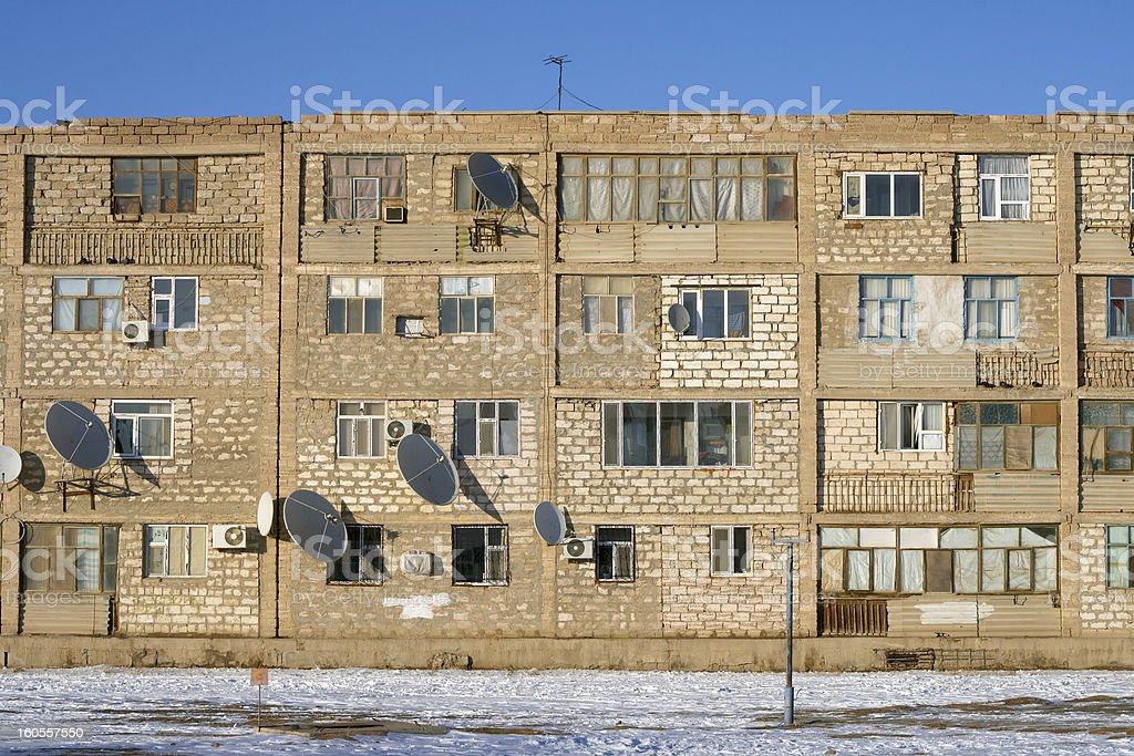 Row of yellow brick buildings. stock photo
