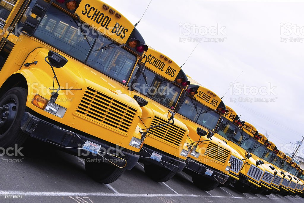 Row of Yellow School Buses royalty-free stock photo