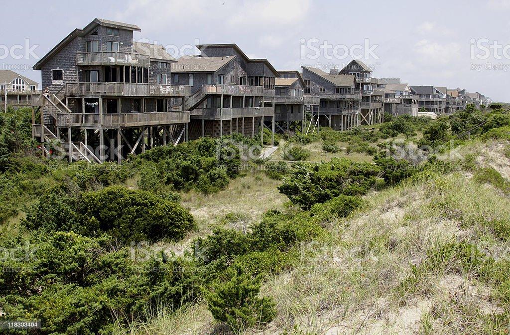 Row Outer Banks Beach Houses stock photo