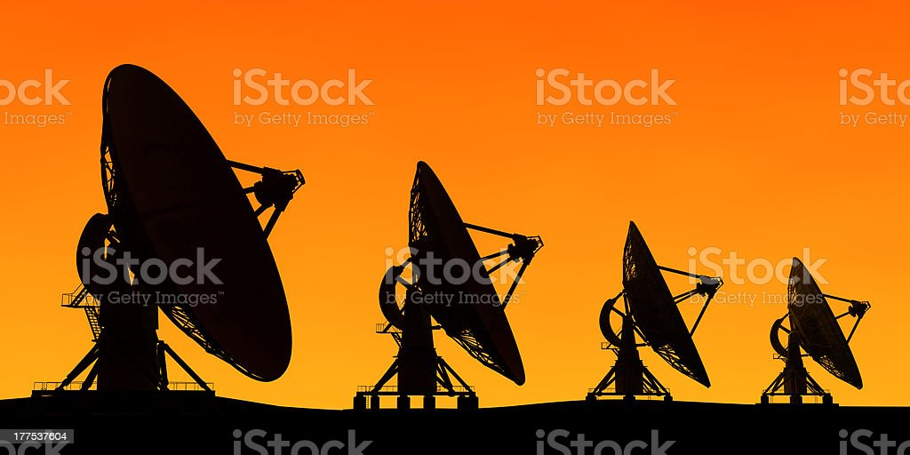 Row radar on orange background royalty-free stock photo