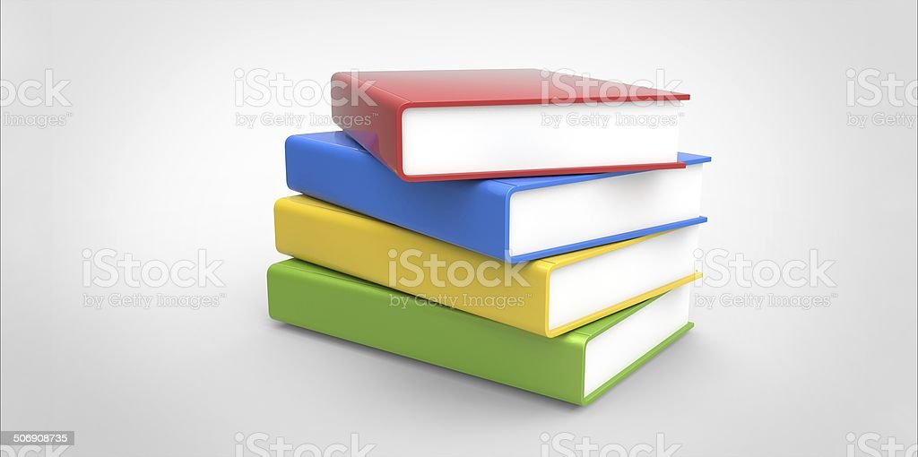 Row stack of colorful books on a plain background stock photo
