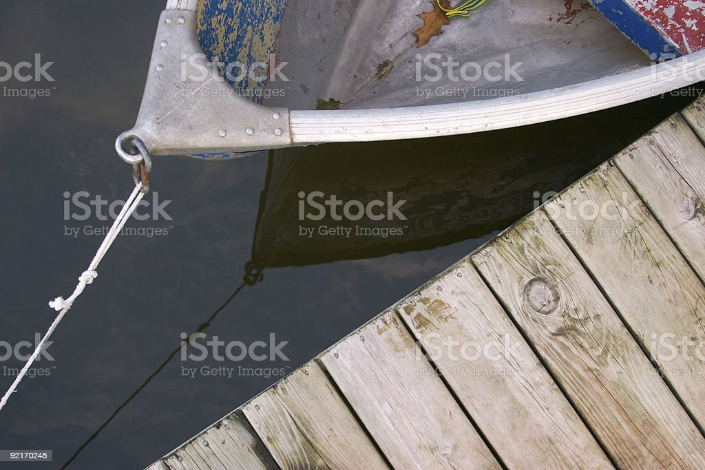 Rowboat and Dock stock photo