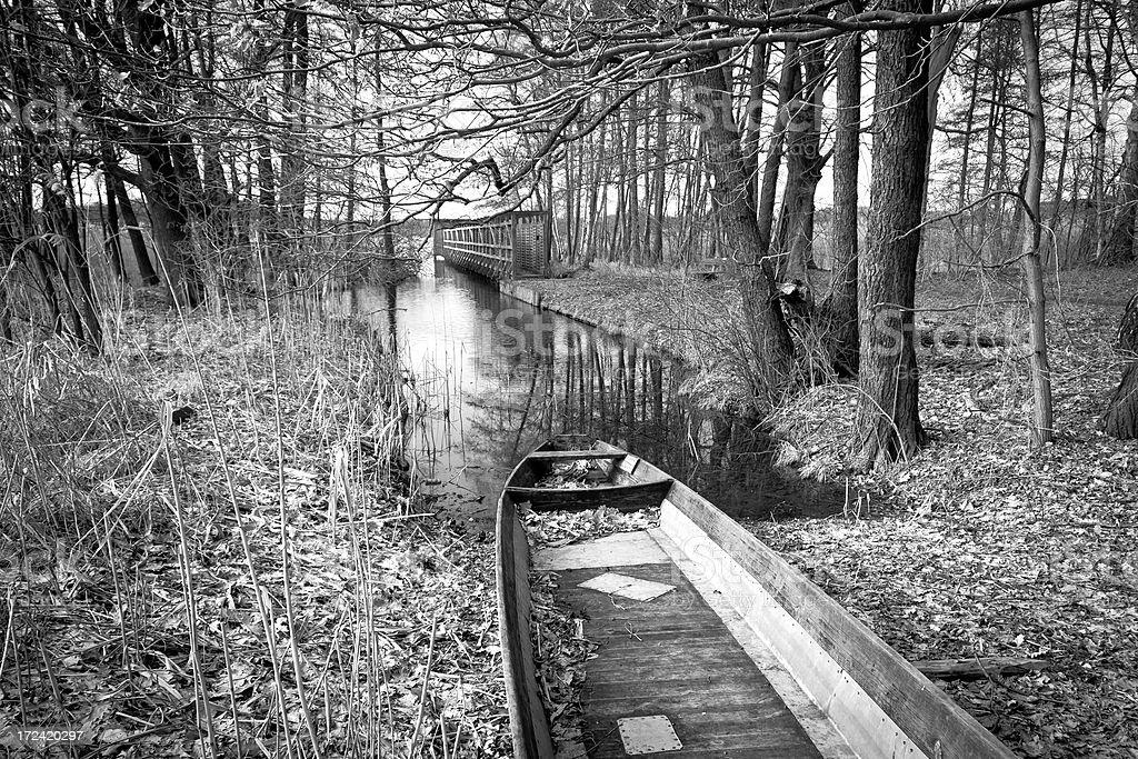 Rowboat at a lake stock photo