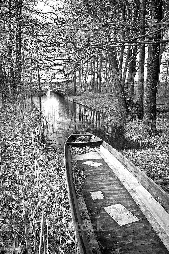 Rowboat at a lake royalty-free stock photo