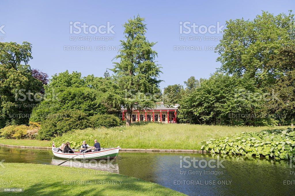 Rowboat in Frederiksberg Park, Denmark stock photo